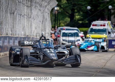 June 13, 2021 - Detroit, Michigan, USA: SEBASTIEN BOURDAIS (14) of Le Mans, France races through the turns during the  race for the Chevrolet Detroit Grand Prix at Belle Isle in Detroit, Michigan.