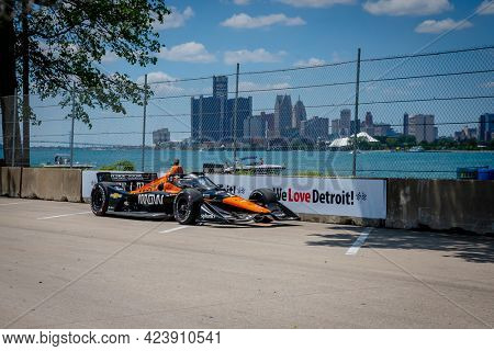 June 13, 2021 - Detroit, Michigan, USA: PATO OWARD (5) of Monterey, Mexico races through the turns during the  race for the Chevrolet Detroit Grand Prix at Belle Isle in Detroit, Michigan.
