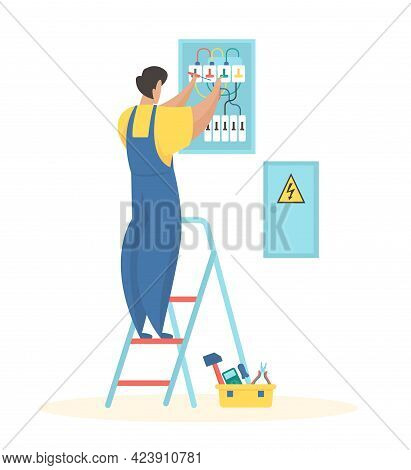 Fixing Electrical Wiring. Electrician In Uniform Adjusts Wires Electric Meter. Folding Ladder And To