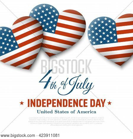 Banner 4th Of July Usa Independence Day. Fourth Of July, Usa National Holiday. Light Background With