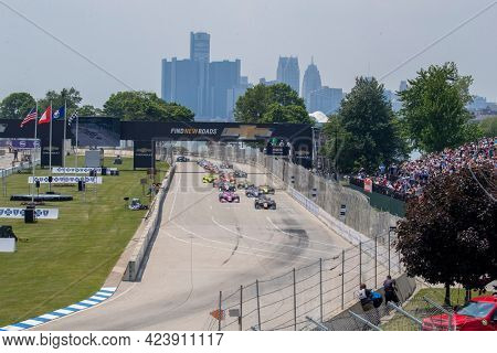 June 12, 2021 - Detroit, Michigan, USA: PATO OWARD (5) of Monterey, Mexico races through the turns during the  race for the Chevrolet Detroit Grand Prix at Belle Isle in Detroit, Michigan.