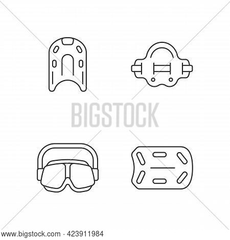 Swimming Pool Supplies Linear Icons Set. Kickboard. Aqua Jogger. Swimming Goggles. Aquatic Fitness.