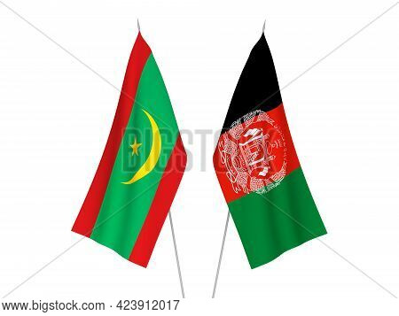 National Fabric Flags Of Islamic Republic Of Mauritania And Islamic Republic Of Afghanistan Isolated