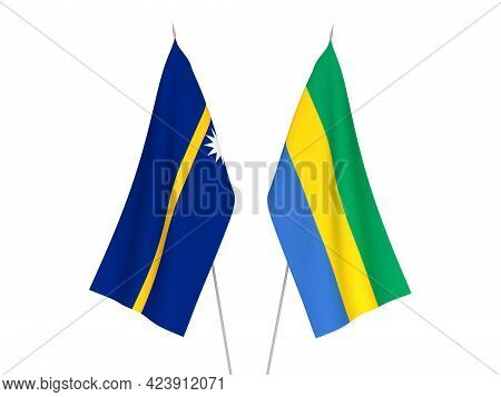 National Fabric Flags Of Gabon And Republic Of Nauru Isolated On White Background. 3d Rendering Illu
