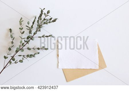 Bright Female Spring Template Mockup Scene With White Greeting Card And Eucalyptus Leaves On White B
