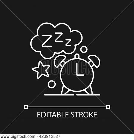 Sleep Time White Linear Icon For Dark Theme. Alarm Clock. Watch Dial With Nighttime. Thin Line Custo