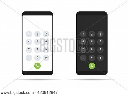 Flat Design Illustration Of Smartphone Set With Light And Dark Screen And Dial Keyboard - Vector