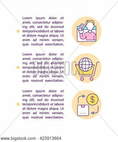 Shoppers Purchase Products On Marketplace Concept Line Icons With Text. Ppt Page Vector Template Wit