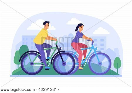 Cycling Around City. Couple Having Fun On Their Bicycles In Green Park. Summer Sports Activities Wit