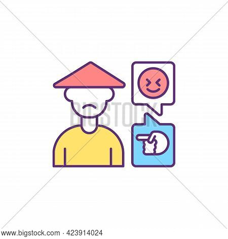 Cyber Harassment Against Asian People Rgb Color Icon. Cyberbullying. Isolated Vector Illustration. A