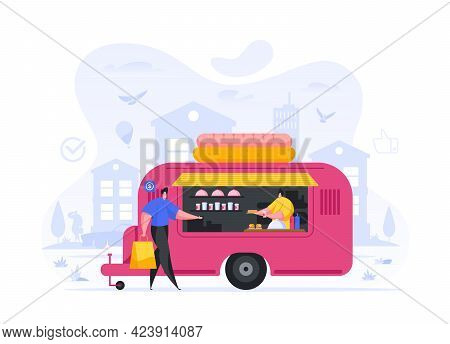 Man Buys Fast Food In Vending Trailer Vector Illustration. Male Character With Yellow Bag Places Ord