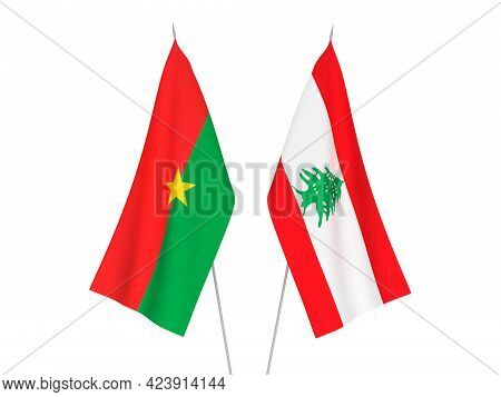 National Fabric Flags Of Lebanon And Burkina Faso Isolated On White Background. 3d Rendering Illustr