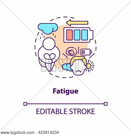 Fatigue Concept Icon. Feeling Of Tiredness. Human Problems After Disease. Diabetes Issues Abstract I