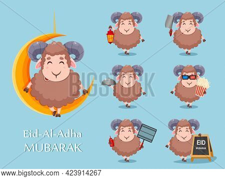 Eid Al Adha Mubarak. Cartoon Sacrificial Sheep For The Celebration Of Muslim Traditional Festival, S