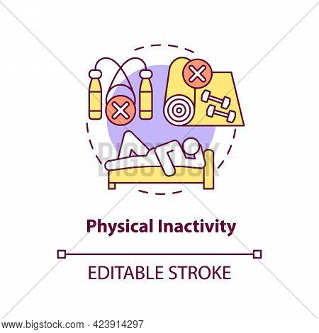 Physical Inactivity Concept Icon. Sitting Or Laying Down During Day. Lazy Lifestyle. Health Problems