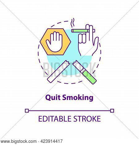 Quit Smoking Concept Icon. Fight With Unhealthy Habits. Dealing With Healh Problems. Organs Problems