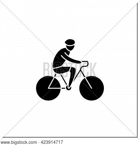 Cycling Glyph Icon. Bicycling, Biking. Physical Exercises. Cyclist Rides Bike. Athletic Competition