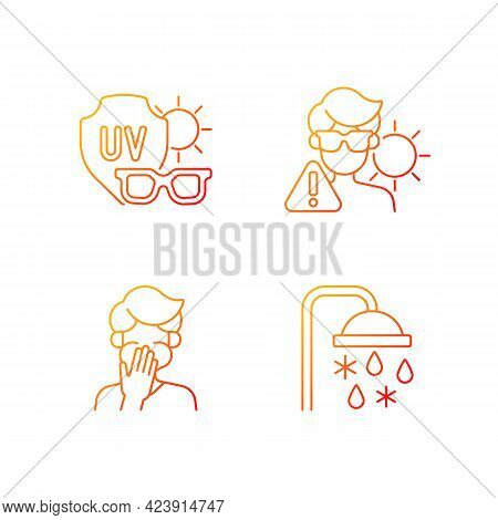 Uv Rays Exposure Risk Gradient Linear Vector Icons Set. Sunglasses To Protect Eyes From Sunlight. Th