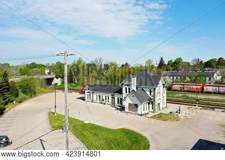 Woodstock, Ontario/canada- May 25: An Aerial Of An Old Train Station In Woodstock, Ontario, Canada O