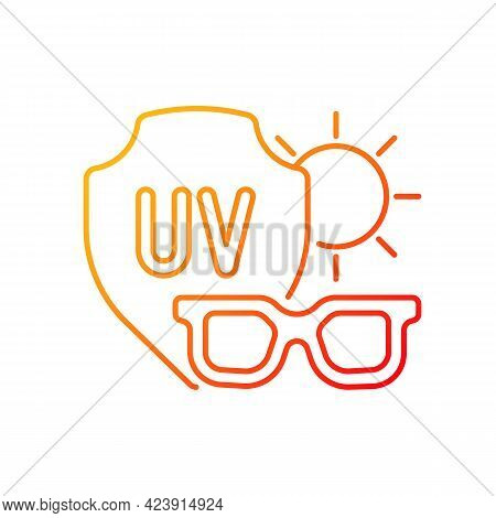 Sunglasses Gradient Linear Vector Icon. Glasses For Eye Protection From Uv Rays. Preventing Sun Expo