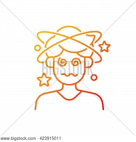 Dizziness And Confusion Gradient Linear Vector Icon. Man Losing Consciousness. Heat Exhaustion Sympt