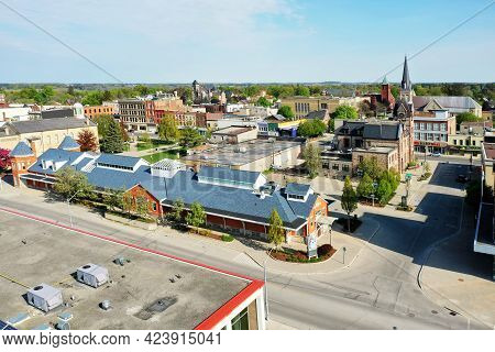 Woodstock, Ontario/canada- May 25: An Aerial View Of Woodstock, Ontario, Canada City Center On [may