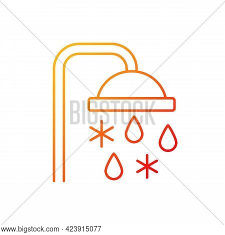 Taking Cold Bath Or Shower Gradient Linear Vector Icon. Cooling Water In Bathroom. Flowing Liquid Fr
