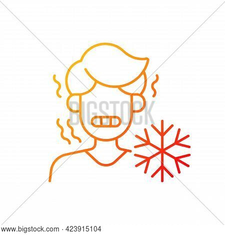 Chills Gradient Linear Vector Icon. Man Shiver From Cold. Person In Cool Weather. Symptom Of Heatstr