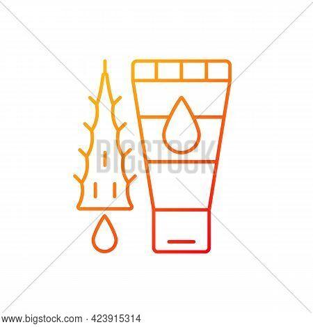 Using Moisturizing Lotion Gradient Linear Vector Icon. Gel With Aloe Vera Oil For Sunburn Treatment.