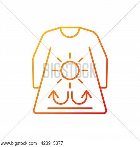 Long Sleeves And Loose Clothing Gradient Linear Vector Icon. Outfit For Summer Weather. Heatstroke P