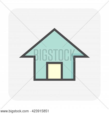 House Or Residential Building With Simple Shape Vector Icon,  Symbol Or Pictogram Design. That Real