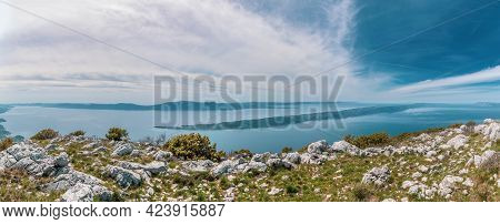 Panorama Island Hvar And Peninsula Peljesac In The Background.view From Rilic Mountain. South Dalmat