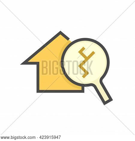 House Damage, Inspection Vector Icon. Consist Of Home Or House Building, Magnifying Glass And Crack