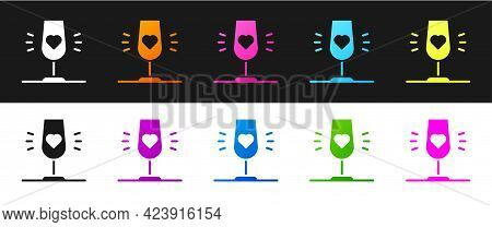 Set Wine Glass Icon Isolated On Black And White Background. Wineglass Sign. Favorite Wine. Vector