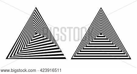 Abstract Op Art Geometric Triangle Design Elements Set With 3d Illusion Effect. Lines Patterns. Vect