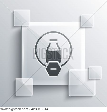 Grey Lactose Free Icon Isolated On Grey Background. Square Glass Panels. Vector