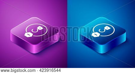 Isometric Industrial Hook Icon Isolated On Blue And Purple Background. Crane Hook Icon. Square Butto