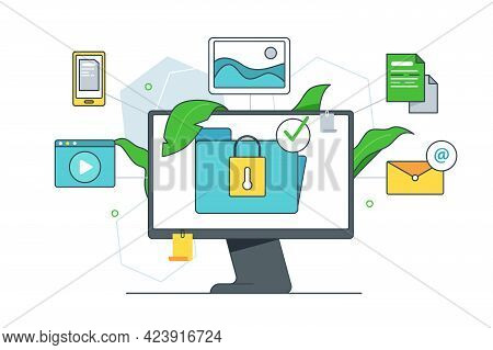 Safe Access To Archive Document Vector Illustration. File Cloud Storage, Document Folder Flat Style.