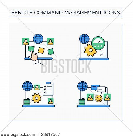 Remote Command Management Color Icons Set. Planning Board, Productivity Standards, Engagement Rules,