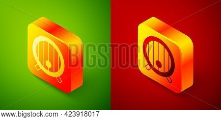 Isometric Wooden Barrel Icon Isolated On Green And Red Background. Alcohol Barrel, Drink Container,