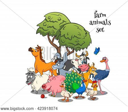 Farm Animals Characters Big Set Of Cartoon Rural Animals