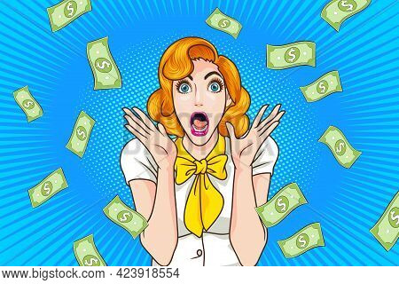 Surprised Woman Face Wow With Open Mouth And Falling Down Money Copy Space For Banner Pop Art Retro