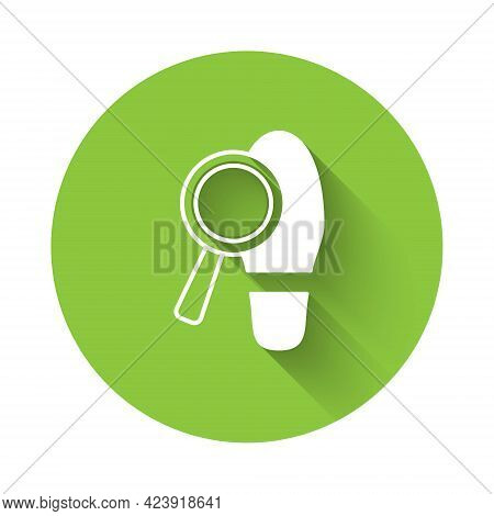 White Magnifying Glass With Footsteps Icon Isolated With Long Shadow Background. Detective Is Invest