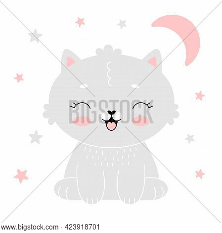 Baby Room Poster With Cute Gray Kitten With Pink Moon. Simple Vector Illustration Isolated On White