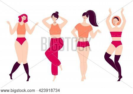 Set Of Dancing Happy Young Women. Disco, Sports Activity, Fitness, Movement. Love To Yourself And Yo