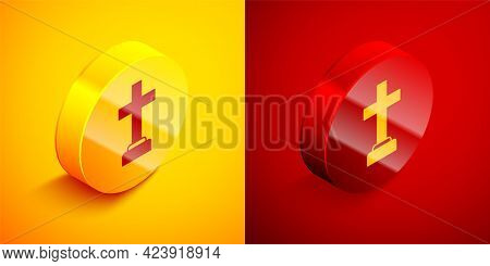 Isometric Man Graves Funeral Sorrow Icon Isolated On Orange And Red Background. The Emotion Of Grief
