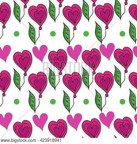 Stylized Flowers With Hearts In Horizontal Rows Seamless Pattern, Fantasy Elements In Pink And Green