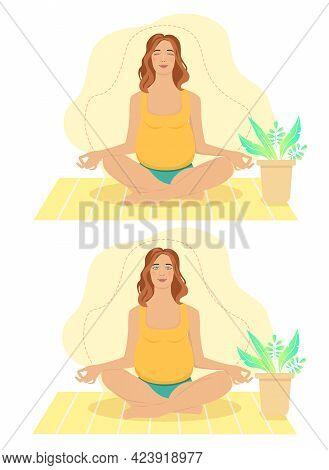 Pregnant Woman Meditating At Home. Concept Illustration For Prenatal Yoga, Meditation, Relax, Recrea