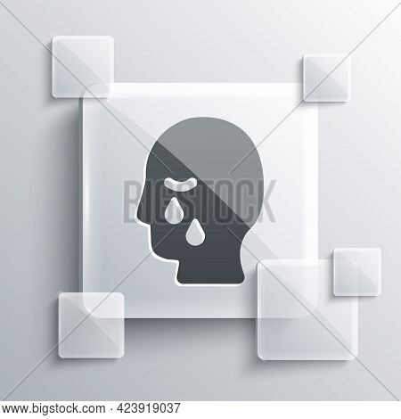 Grey Man Graves Funeral Sorrow Icon Isolated On Grey Background. The Emotion Of Grief, Sadness, Sorr