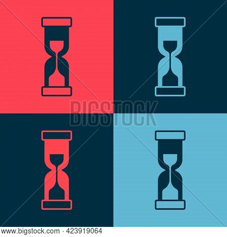 Pop Art Old Hourglass With Flowing Sand Icon Isolated On Color Background. Sand Clock Sign. Business